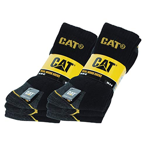 Caterpillar 6 Paires Chaussettes de travail CAT pour hommes Prévention des accidents renforcées au talon et à la pointe Coton d'excellente qualité