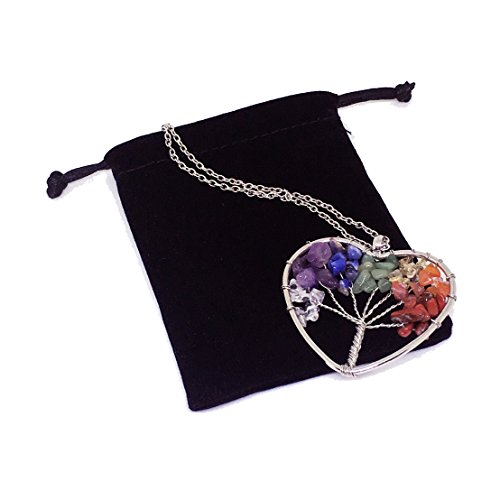 Duseco Tree of Life Pendant Amethyst Rose Crystal Necklace Gemstone Chakra Vintage Jewelry Gifts for Mothers (Heart) (Blue Round Sapphire Brooch)
