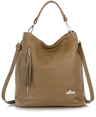 Twin Shoulder Shopper Light Handbag Handles Top Hobo Leather Italian Womens GWEN LIATALIA Genuine Tan Handle 1xnIqCUq