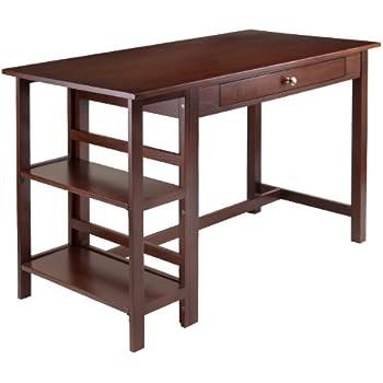 Amazon Com Winsome Wood Velda Writing Desk With 2 Shelves