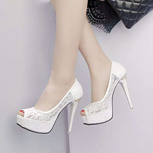 12Cm Fine Heels Women's Shoes Aged Super Fashionable Mothers Spring High Middle Fashionable Fashion Shoes Single White Young in GTVERNH and Xq7gg