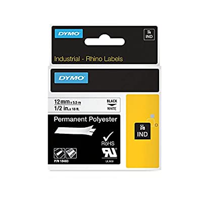 """DYMO Industrial Permanent Labels for DYMO LabelWriter and Industrial Label Makers, Black on White, 1/2"""", 1 Roll (18483) from 0"""