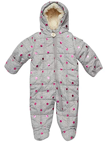 DKNY Baby Girls' Snowsuit – Quilted Fleece Puffer Jacket Pram Jumpsuit (Newborn/Infant)