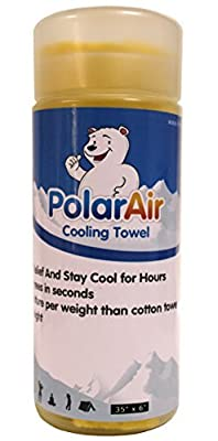 "Polar Air - Cooling Towel for Instant Relief - 40""x12""- Stay Cool for Bowling Fitness Yoga Travel Camping Golf Football & Outdoor Sports Neck Headband Bandana Scarf"