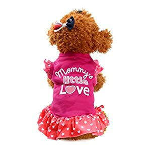 Dog Clothes Wakeu Pet Puppy Apparel mommy's little love Dress Vest Clothes for Small Dog Girl (Hot Pink, XS)