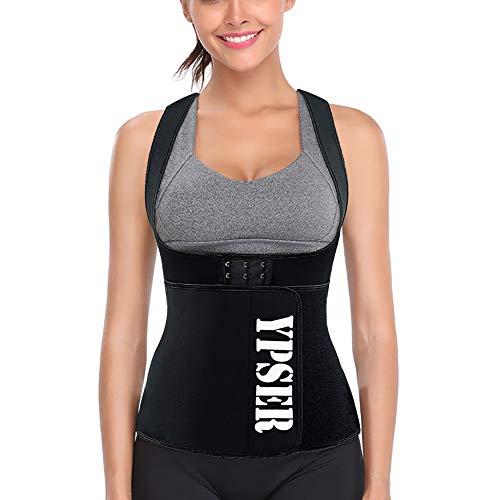 (Ypser Sauna Suit Sweat Vest Neoprene Waist Trainer for Weight Loss with Adjustable Waist Trimmer Belt Workout Tank Top Black)
