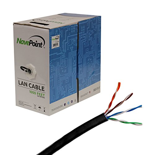 NavePoint CAT5e 1000FT UTP Cable Solid 24AWG Black Network Ethernet LAN Bulk Wire RJ45
