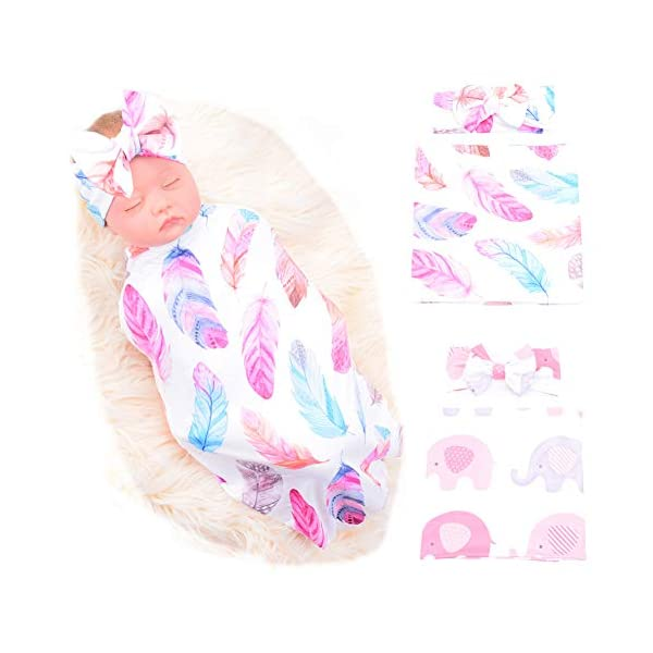 Galabloomer Newborn Receiving Blanket Headband Set Flower Print Baby Swaddle Receiving Blankets (Feather Elephant)