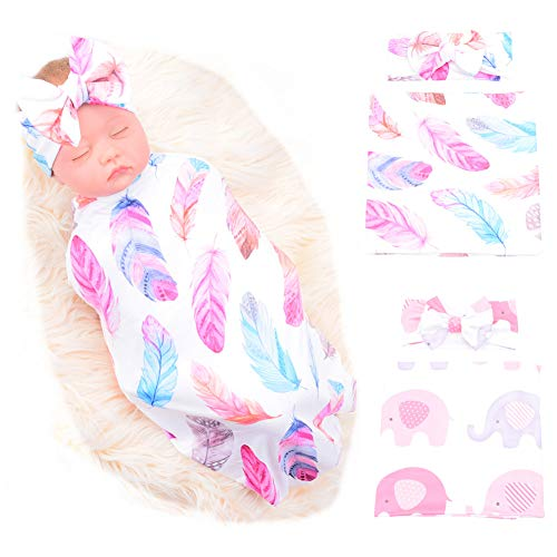 Galabloomer Newborn Receiving Blanket Headband Set Flower Print Baby Swaddle Receiving Blankets (Feather & Elephant)