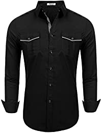 """<span class=""""a-offscreen"""">[Sponsored]</span>Mens Casual Fashion Button Down Cowboys Shirt Western Solid Long Sleeve Shirt With Pocket"""