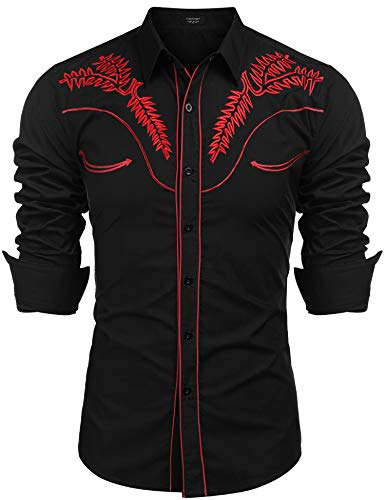 COOFANDY Men's Western Shirts Long Sleeve Slim Fit Embroideres Cowboy Casual Button Down Shirt (XX-Large, Black1)