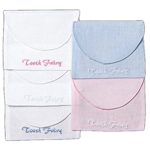 Tooth Fairy Baby Keepsake Envelope Bag Pouch White Linen with Embroidered Pink Lettering
