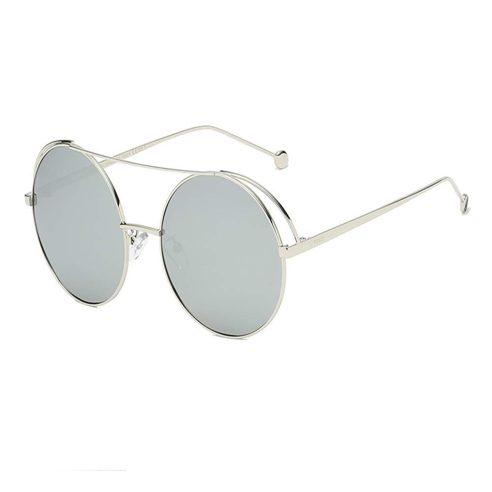 Polarized Sunglasses Lady Retro Round Frame Sunglasses Driving Holiday Travel UV400 Predection (color   Silver)