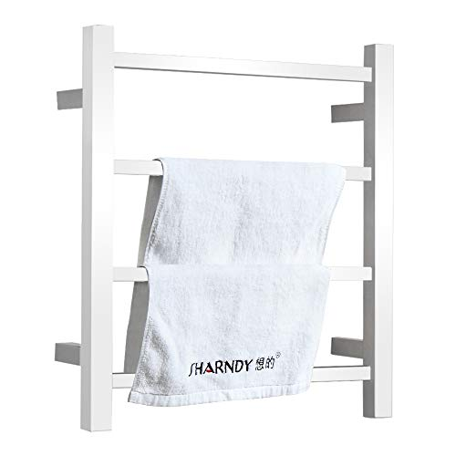 - SHARNDY Electric Towel Warmer 4 Bars ETW13-2A Polish Chrome 45W Plug-in Hardwired Heated Towel Rack for Bathroom Wall Mounted