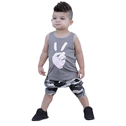 2 Toddler T-shirt - Dinlong 2Pcs Baby Boy Clothes Victory Sleeveless T-Shirt Tops+Camouflage Shorts Outfits (2-3 T, Gray)