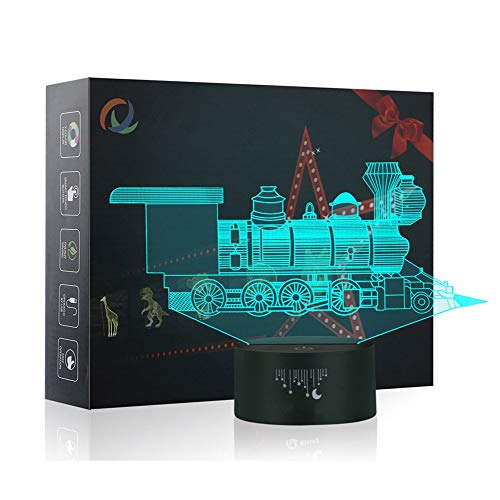 - Train Lights, 3D Night Light for Kids, 7 Colors Touch Table Desk Lamps, LED Vision Illusion Lighting with USB, Baby Bedroom Sleep Lamp, Birthday Party Holiday Gifts for Children