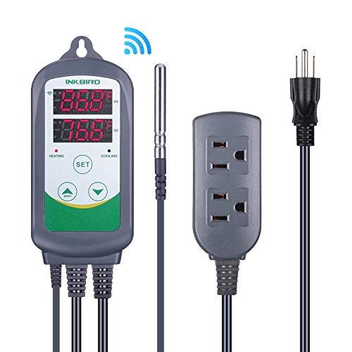 Inkbird WiFi ITC-308 Digital Temperature Controller Thermostat Remote Monitoring Controlling Home Brewing Fermentation Breeding Incubation Greenhouse