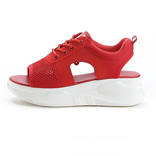 Breathable Soft Slippers T for Slip JULY on Sandals Heels Slide Wedge Women Ladies Walking Dressy Mesh Girls Red f74p7xqXw