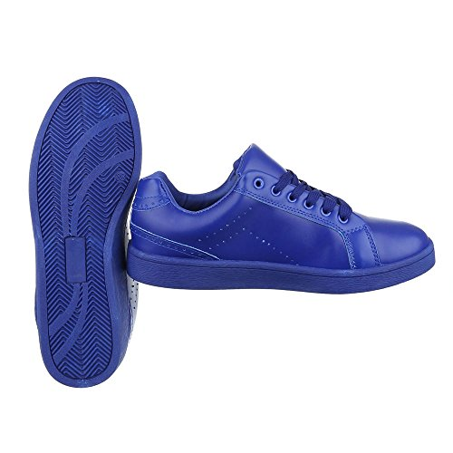 Ital-Design Sportschuhe Damenschuhe Geschlossen Sneakers Schnürsenkel Freizeitschuhe Blau URSA-51