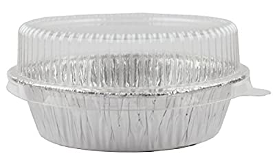 "Foil Disposable 4-2/8"" Mini Pot Pie, Food, Mini Tart Pans, Mini Pie Pans with Plastic Lids, 1 Pack 20 Sets."