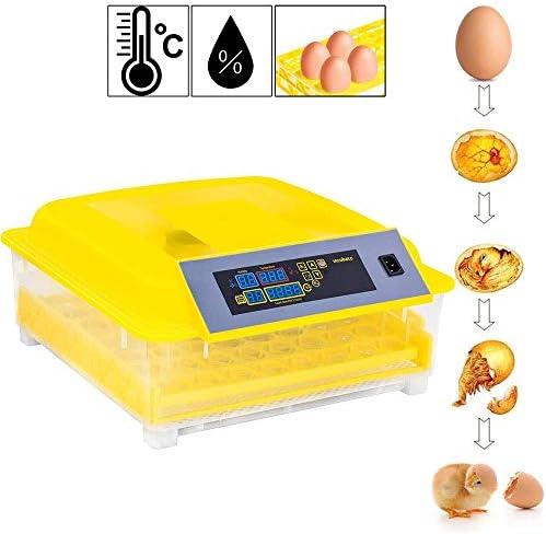 卵インキュベーター自動回転および孵化、デジタルミニ卵インキュベーター48卵インキュベーター自動温度制御インキュベーター、鶏、アヒル、鳥用