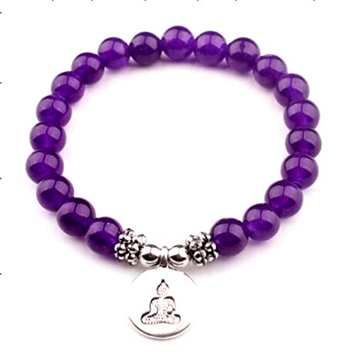Aventurine Purple Chakra Healing Gemstone Tibetan Inspired adorned with a Buddha Pendant Quartz-based Beaded Bracelet known for its bright inclusions and glistening or shimmering effect