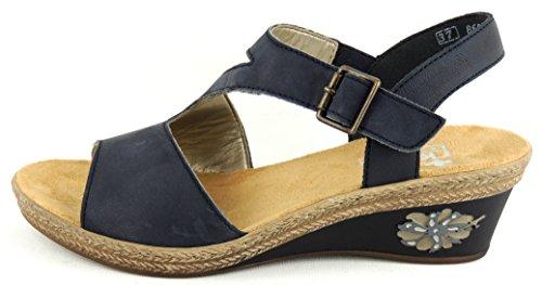 RIEKER Damen - Sandale Schnalle KEILSOHLE Blau