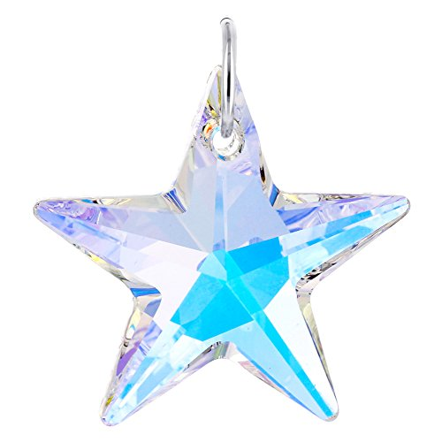 Gem Avenue 925 Sterling Silver Star Shape Swarovski Elements Clear AB Crystal Charm Pendant for Women (Sterling Silver Star Shape)