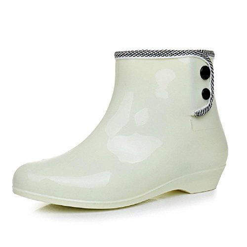 Alger Ms Keep warm Plus cashmere Rain boots, white, 40