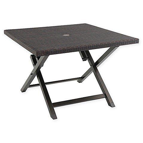 (Barrington Wicker 42-Inch Square Folding Patio Table (Brown))