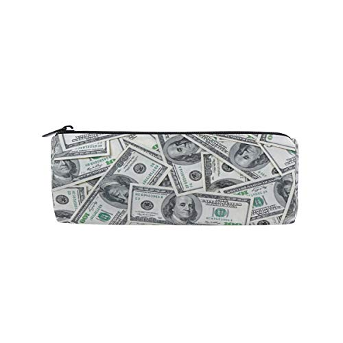 Tarity Dollar Bill Pencil Case Organizer Holder Large Capacity Round Stationery Pouch Pen Pencil Box Bag With Zipper For Girls Boys Women Men Kids