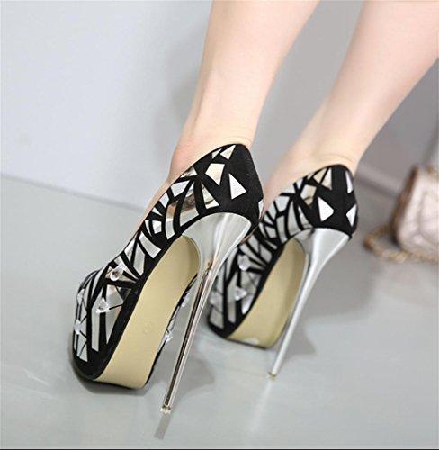 HETAO Persönlichkeit Heels Frauen Sexy Mode Wildleder Stilleto Sehr High Heel Platform Court Schuhe, 36, Black Temperament Elegante Schuhe