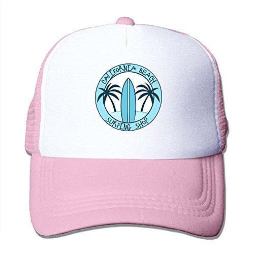 (WYF Sea Palm Tree Surfboard Design Summer Outdoor Mesh Hat Golf Snapback Hat Adjustable Pink )