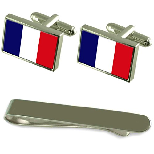 France Flag Silver Cufflinks Tie Clip Engraved Gift Set by Select Gifts