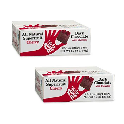 Nib Mor Dark Chocolate Bar with Tart Cherries 52% Cacao - 1 oz. bar (Pack of 24)