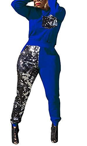 2 Piece Casual Sport Tracksuit for Women Long Sleeve Shiny Top+Metallic Striped Pants with Pocket Jumpsuit (Pant Striped Metallic)