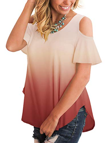 SLIMMING GRIL Ladies Summer Clothing O Neck Off The Shoulder Tops for Women Short Sleeves Coral S]()