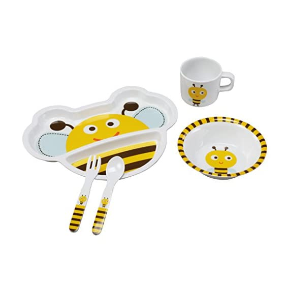 LuvLap Melamine Baby Cutlery Tableware, 5 pc Set with Spoon, Fork, Mug, Bowl & Plate (Yellow/Bumble Bee)