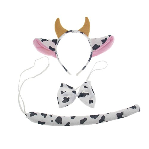 3PCS Child Adult Animal Cow Ears Headband Tail Set Party Post Halloween (Easy A Costumes)