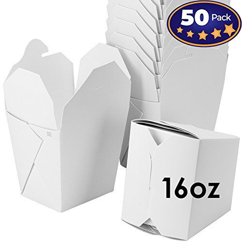hinese 16 oz Take Out Boxes. 50 Pack by Avant Grub. Stackable Pails are Recyclable. Ideal Leak and Grease Resistant Pint Size to Go Container for Restaurants and Food Service. ()
