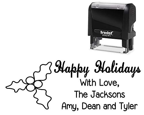 (Tailor Made Family Holiday Rubber Stamp. with Holly - Mistletoe Image - Size Approx. 7/8