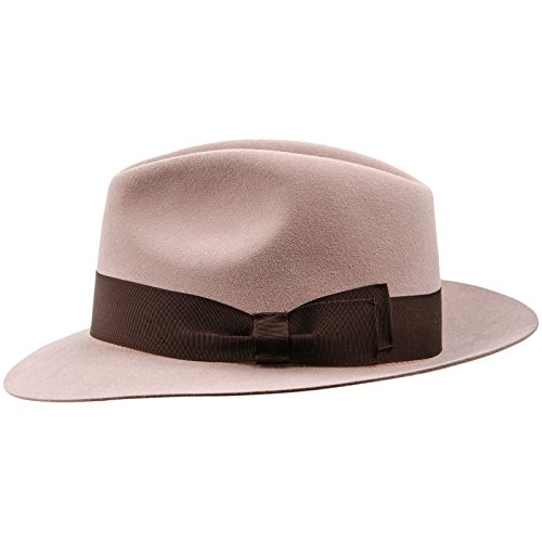 bit Felt Wide Brim Fedora Hat US 7 3/4 Beige (Rabbit Felt Hat)