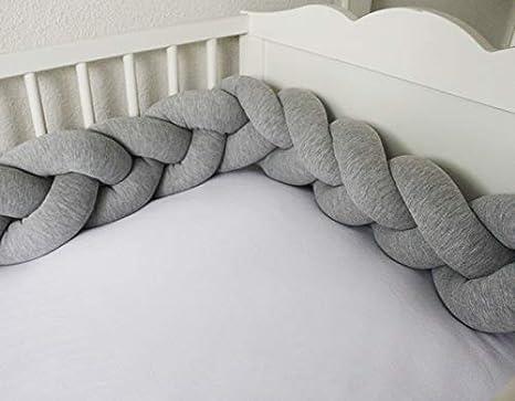 Protector cuna trenza 120 cm, color gris- Chichonera bebe para cuna - Cojín trenzado artesanal de algodón, elastano y 100% fibra hueca siliconada