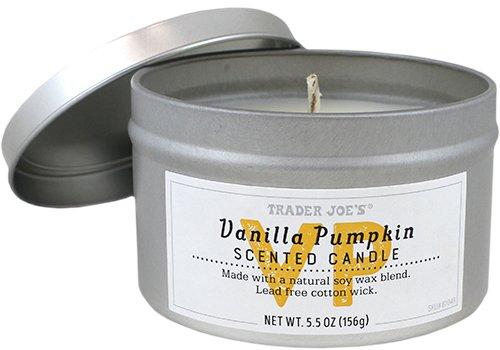 - Trader Joes Natural Soy Vanilla Pumpkin Scented Candle