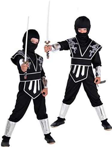Disfraz infantil de dragón ninja en plateado y negro. Disfraz para ...