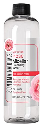 Sonoma Naturals Moroccan Rose Micellar Cleansing Water for Face & Eyes, 16 oz | Makeup Remover | Hydrating & Soothing | Gentle Cleanser | Removes Dirt & Oil | No Rinse | All Skin Types 41FPPkGNoRL