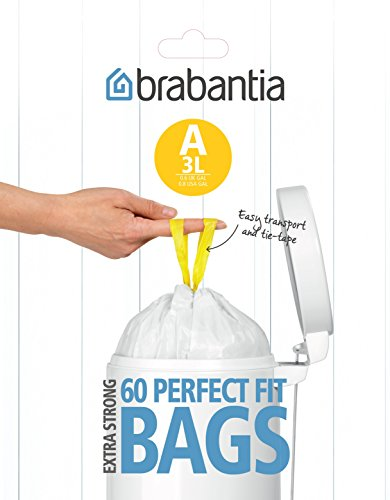 Brabantia Smartfix Bin Liners, Size A, 3 Litre, 60 Bag Dispenser Pack ()