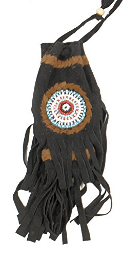 Black Medicine Light Bag American Fair Native Trade Drawstring Pouch Replica Beaded v7wgqS