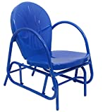 Electric Blue Retro Metal Tulip Outdoor Single Glider