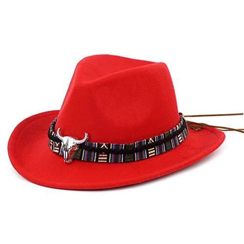 Western Cowboy Hat-Wool Fedora Felt Hats Men Women Crushable Brim Trilby Red
